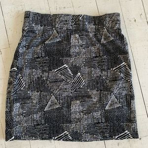 Madewell black white geometric skirt XS